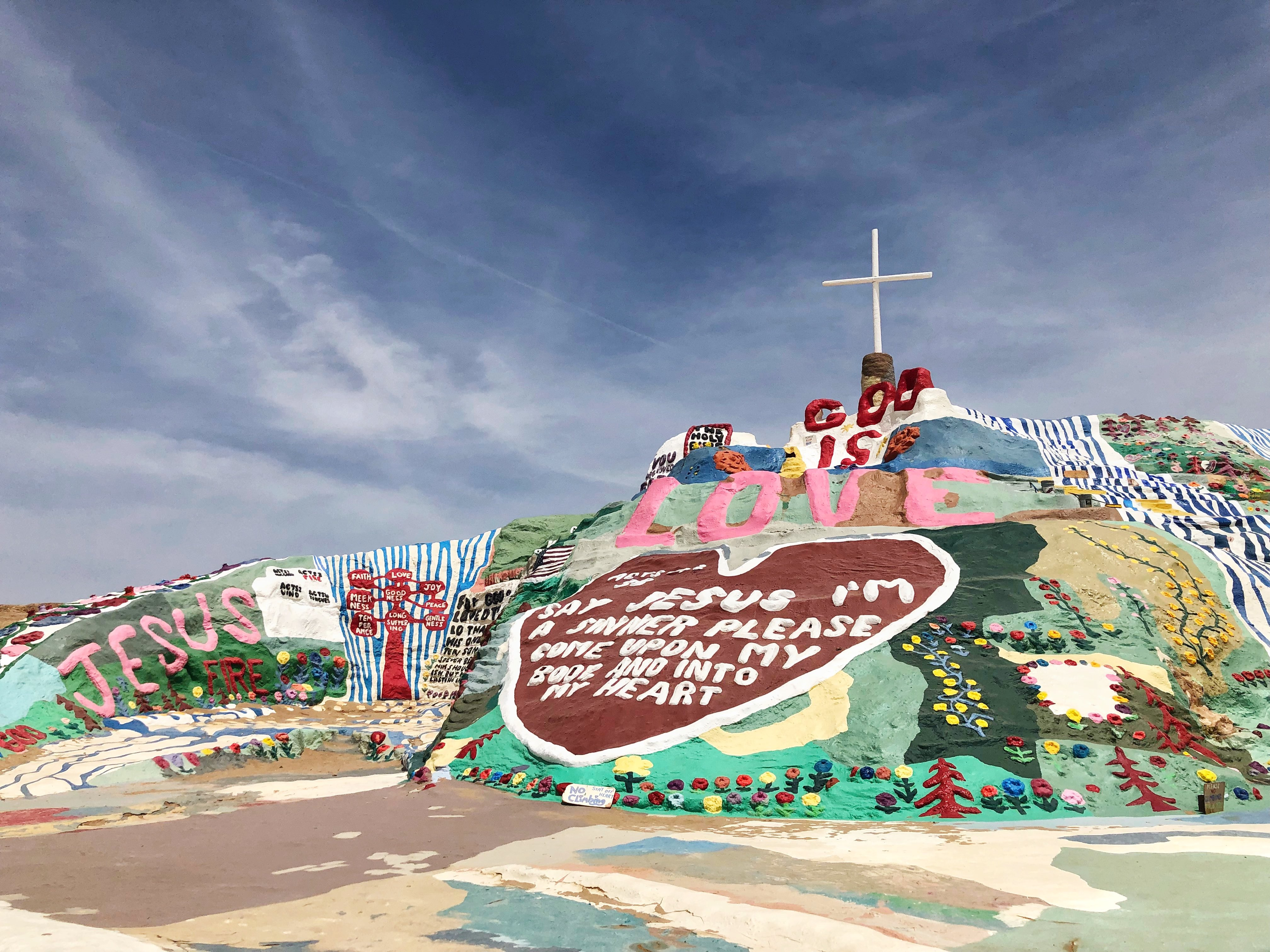 God is Love and The Sinner's Prayer among other testaments to God on Salvation Mountain in Slab City, Calif., on April 30, 2018. ECF