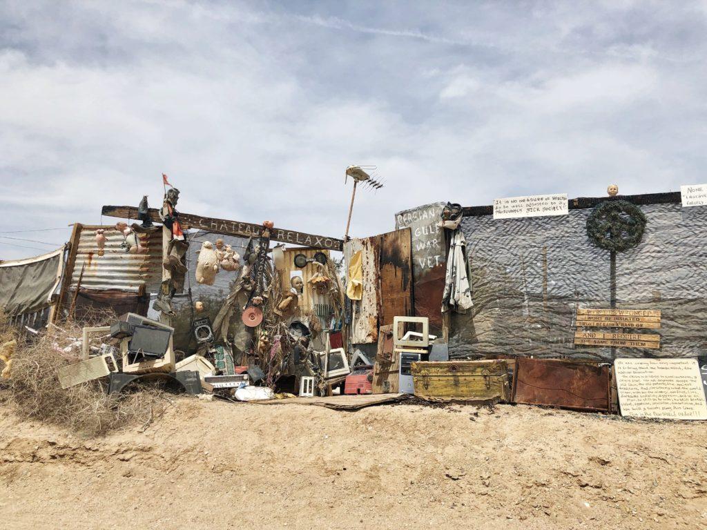 A Vietnam War Veteran's makeshift home in Slab City, Calif., on April 30, 2018. ECF
