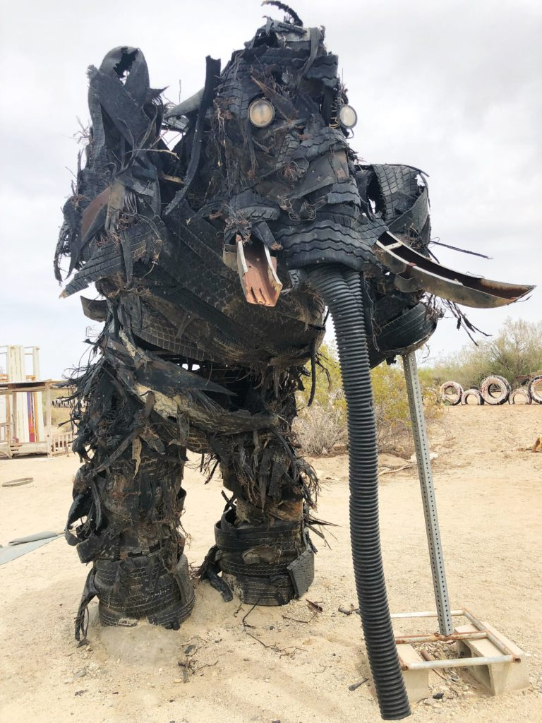 An elephant made out of old tires displayed in East Jesus of Slab City, Calif., on April 30, 2018. ECF
