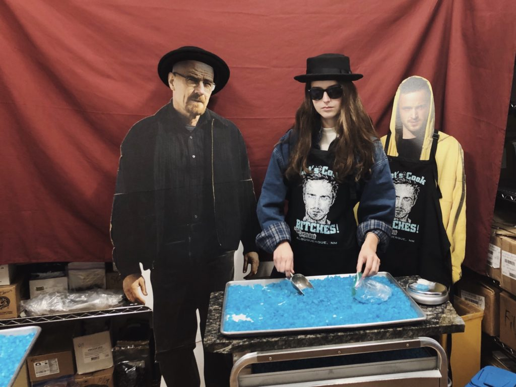 Posing with Walter White and Jesse Pinkman at The Candy Lady