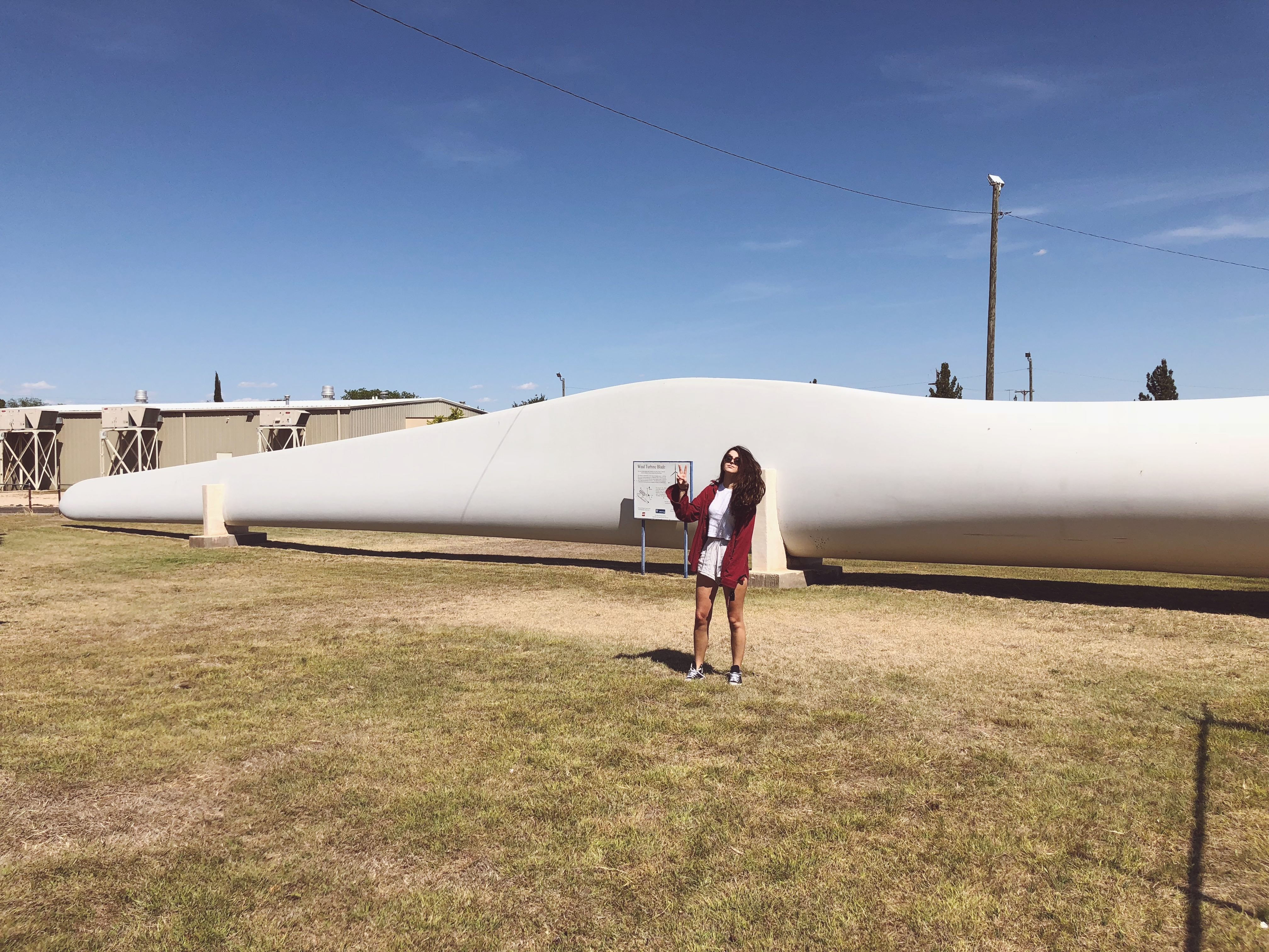 The size of a wind turbine blade, roadside attraction