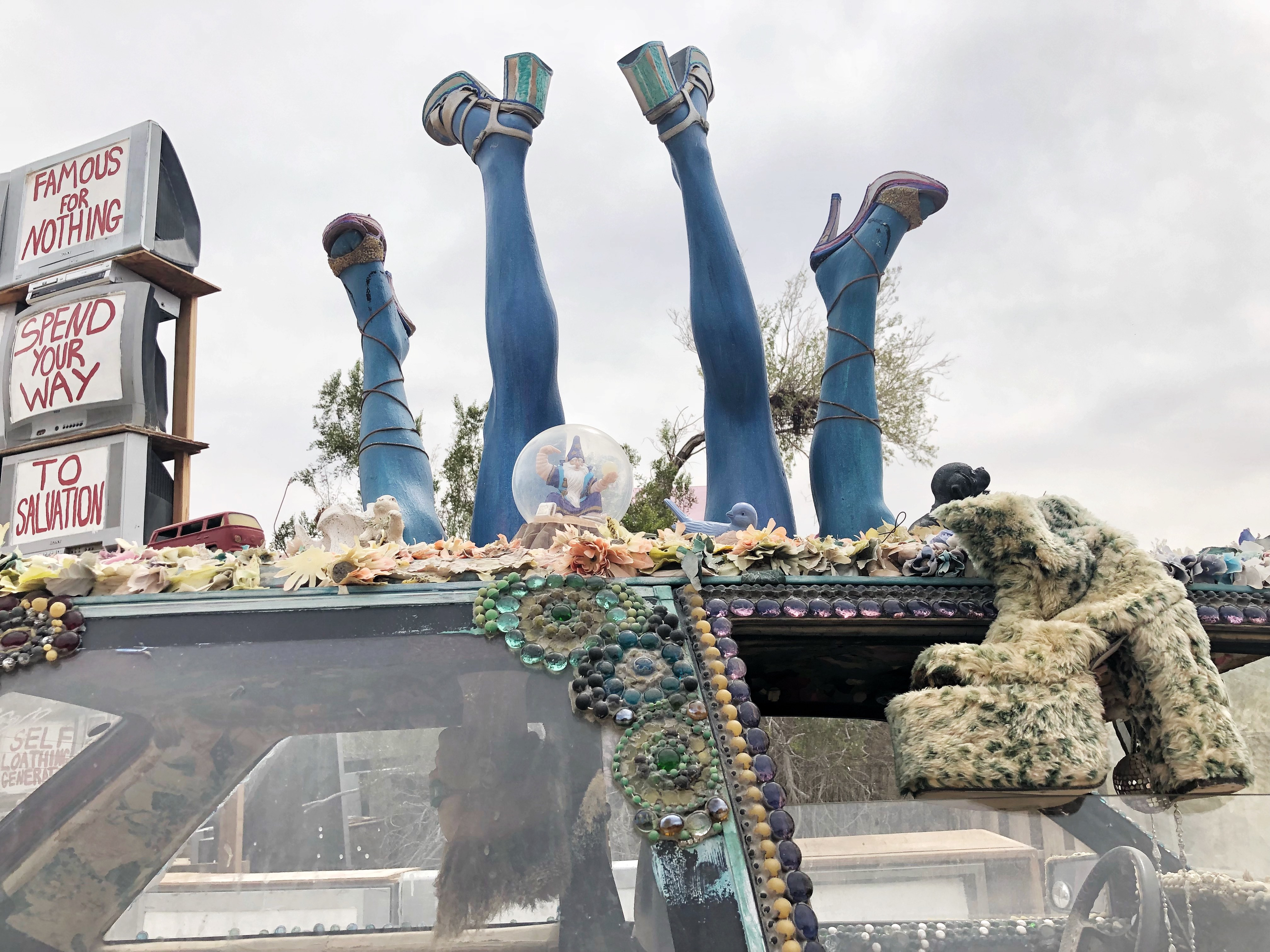 Wacky decked-out car in East Jesus in Slab City, Calif., on April 30, 2018. ECF