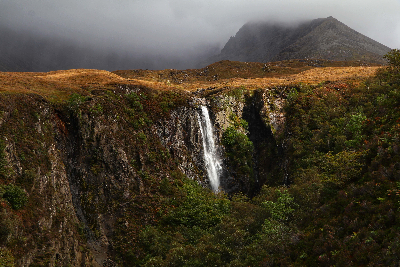 Eas Mor Waterfall, the Cuillin in view, Isle of Skye ECF