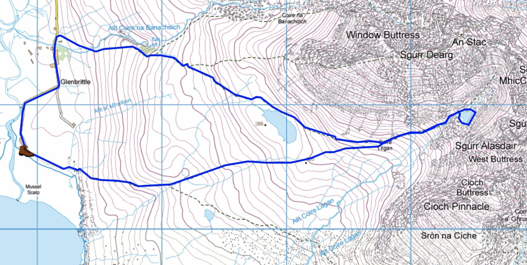 Map of Coire Lagan walk